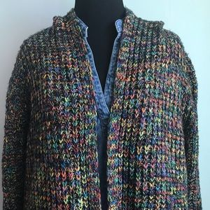 HOODED MULTI COLORED OPEN FRONT CARDI